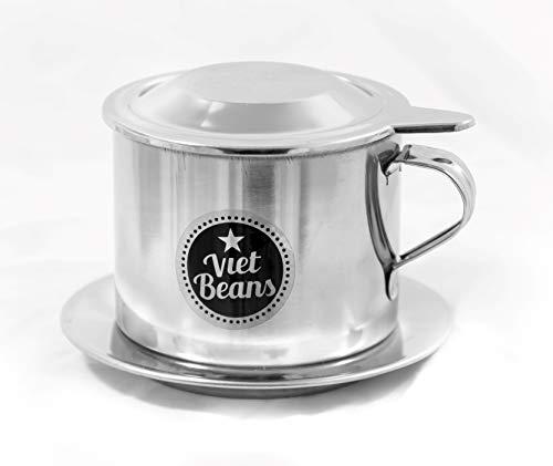 VietBeans vietnamesischer Kaffeefilter Vietnam Cafe Phin - Kaffeesieb - Kaffeepresse - 1 Kaffeetasse - Wiederverwendbar aus rostfreiem Stahl
