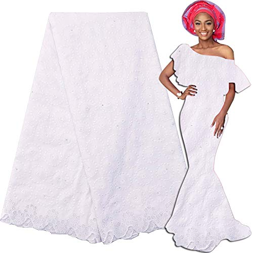 LadyQ New Arrivals Latest Nigerian Lace Fabric 2019 White Swiss Voile Lace in Switzerland Dry African Fabric Lace Material (White 2)