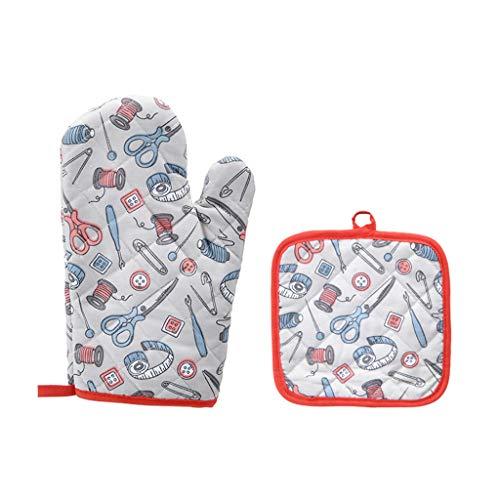 Damonday Baumwolle Hitzebeständige Handschuhe Fashion Muster Küche Pad Kochen Mikrowellen-Handschuhe Backen BBQ Topflappen Ofenhandschuhe Küchenhandschuhe Von Sommer's Laden (F)