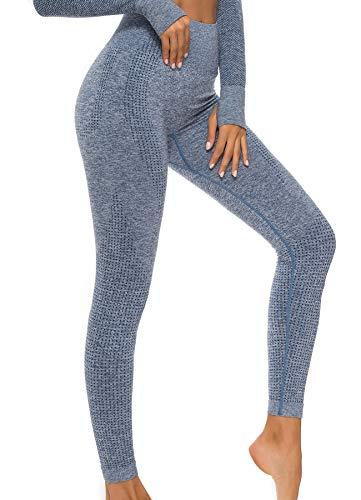 INSTINNCT Damen Gestreifte Nahtlose Leggings Slim Fit Jogginghose Sporthosen Fitnesshose C-Klassischer Stil (Blau) S