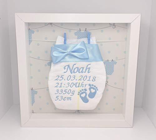 Windelrahmen Rosa oder Blau/Bestickte Windel im Rahmen mit Leine/Personalisiertes Geschenk Baby Geburt Taufe etc.