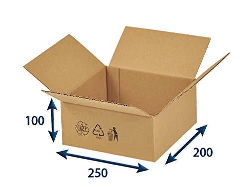 25 x Versandkartons (Faltschachteln, Faltkarton, Wellpappkarton, Wellpappfaltkarton, Kartons), 3-Sicht, 250x200x100mm