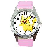 Reloj de cuarzo redondo de cuero rosa para los fans de Pikachu