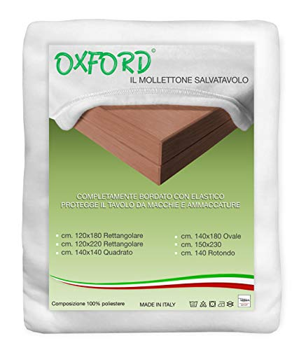 MOLLETTONE SALVATAVOLO OXFORD SOTTOTOVAGLIA PROTEGGI TAVOLO BIANCO - Cm. 120x220