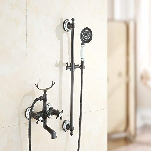 WHSS Ducha cabeza baño negro bronce ducha simple ducha negro antiguo azul porcelana ducha