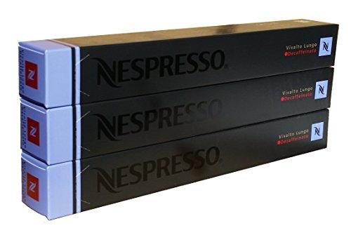 Nespresso Kapseln Vivalto Lungo Decaffeinato - 3er Pack, 30 Kapseln (blau) - Entkoffeiniert
