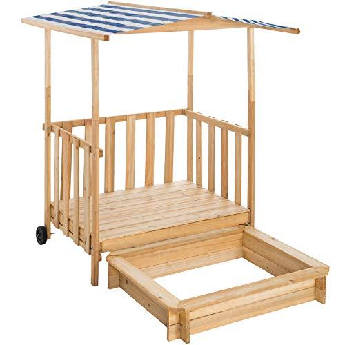 TecTake 800792 Sandkasten mit Dach, Spielhaus mit Sandkasten aus Holz, Sandkiste mit Veranda und Geländer, Sandbox mit Abdeckung und Sonnenschutz - Diverse Farben - (Blau | Nr. 403245)