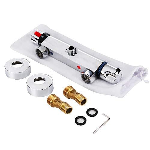 Mischventil Mischbatterie, Thermostat Wannenthermostat Mischbatterie mit Verbrühschutz Dusche und Bad Thermostatisches Mischventil für Dusche System Wassertemperaturregelung Rohr Becken