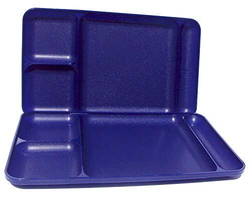 Tupperware Divided Dining TV Trays Picnic Kids Lunch Plates Set of 2 Dark Navy Blue