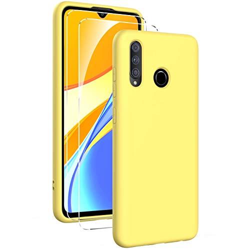 Oududianzi - Funda para Huawei P30 Lite con 2 Pack Protector de Pantalla de Vidrio Templado, Funda de Silicona Líquida Suave Case de Goma Ultrafina a Prueba de Choques de Color Puro - Amarillo