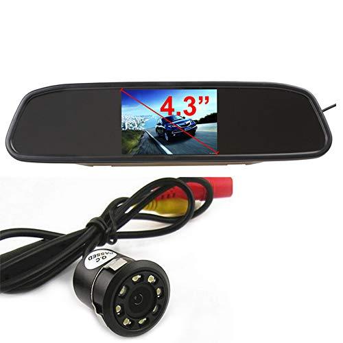 Boomboost - 18mm Caméra de Vue arrière de Vidicon de stationnement de Voiture du Trou CCD de Vision Nocturne de 8 LED de Vision Nocturne avec Le Moniteur de rétroviseur de Voiture de 4,3 Pouces TFT