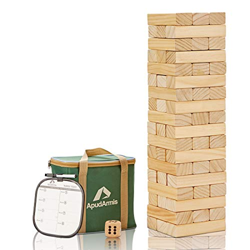 ApudArmis 54 PCS Tumble Timber Set 3FT+, Pine Wooden Tumble Tower Game with Dice and Scoreboard Set - Classic Block Stacking Board Game for Kids Children Teenagers