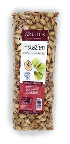 Griechische Pistazien ohne Salz Ungesalzene Nüsse knusprig geröstet aus Aegina Griechenland | 500 g | ARISTOS | (Geröstet ohne Salz)