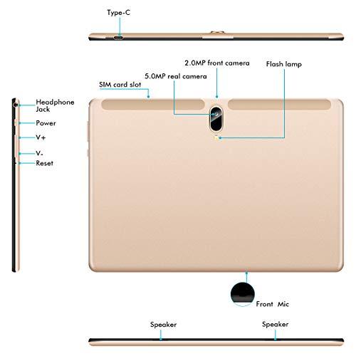 Padgene N10 Tablet 10.1 Zoll (25.54cm), Android 10.0 Ultra Dünn Tablett PC, Octa-Core, 128GB erweiterbar auf bis zu 256GB, 4GB RAM, 4G LTE Phablet, Dual SIM, WiFi, Bluetooth(Gold)