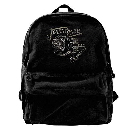 NJIASGFUI Johnny Cash Rucksack aus Segeltuch mit Logo und Gitarre, für Fitnessstudio, Wandern, Laptop, Schultertasche