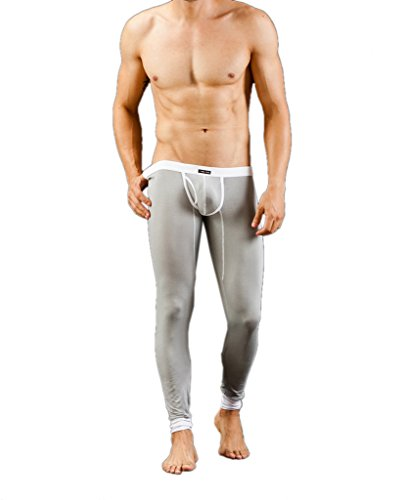 Men's Thermal Pants,Model Base Layer Soft Than Cotton Sexy Underwear Long Johns (Large, 1#Gray)