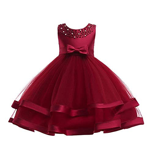 Princess Girl Formal Birthday Party Dress Ruffles 2018 Christmas National Flag Day Size 4T (Wine, 120)