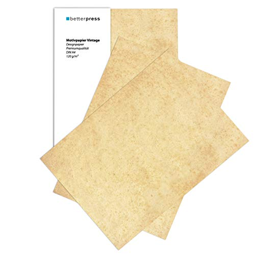 Betterpress® 100 Blatt Vintagepapier, DIN A4 – Altes Retro Papier beidseitig bedruckt in hochwertiger 120g Qualität – Mittelalterliches Briefpapier ideal als Schatzkarte, Urkunde