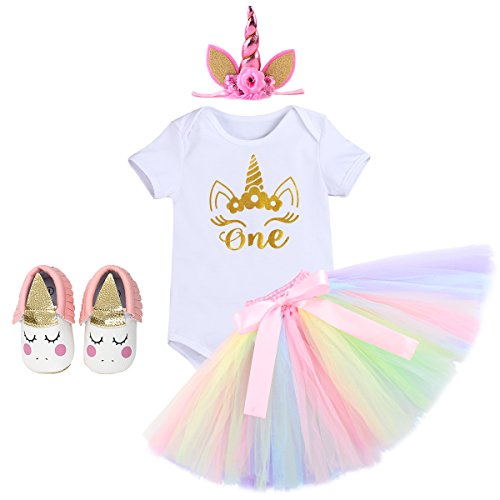 Infant Girls 1st Birthday Unicorn Boutique Outfit Dress Cake Smash One Piece Romper Tulle Tutu Skirt with Flower Headband Gown 4pcs White Shoes+Unicorn Headband 12-18 Months