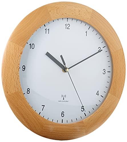 TFA Dostmann Funkwanduhr, Design Wanduhr Holz, aus Buche, zum Hängen, 31cm Durchmesser, braun, 98.1065
