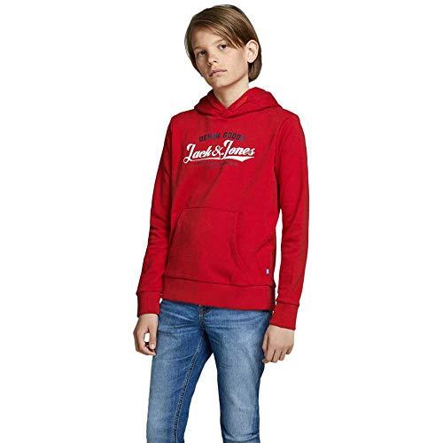 Jack & Jones Junior JJELOGO Sweat Hood 2 COL 20/21 Noos JR Sweatshirt Capuche, Rouge Tango, 164 cm Mixte Enfant