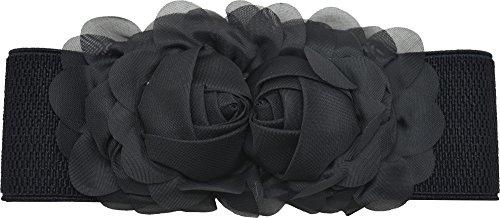 Meta-U - Cinturón ancho elástico con flores para mujer negro negro Talla...