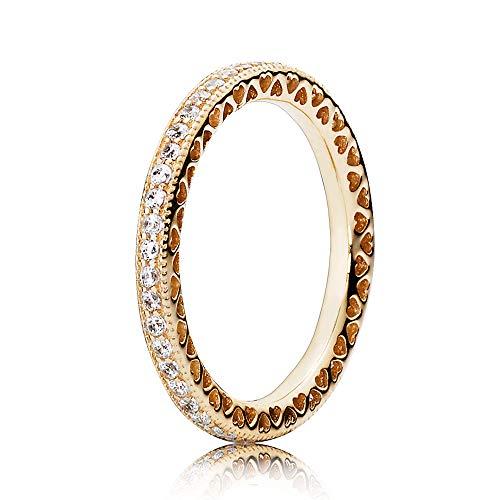 Pandora Jewelry - Anillo de oro de 14 quilates, diseño de corazones de Pandora