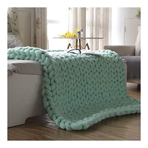 Jlxl Manta de punto gigante de lujo para sofá, cama, silla hecha a mano (color: verde claro, tamaño: 120 x 150 cm)
