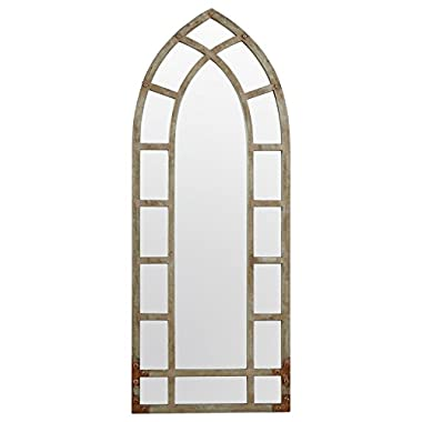 Stone & Beam Modern Arc Metal Frame Mirror, 46.25  H, Silver Finish