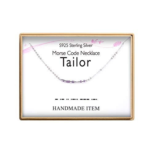 Tailor Morse Code Necklace S925 Sterling Silver Morse Code Pendant Necklace Women Jewelry Gifts for Tailor Sewing Machine Lovers