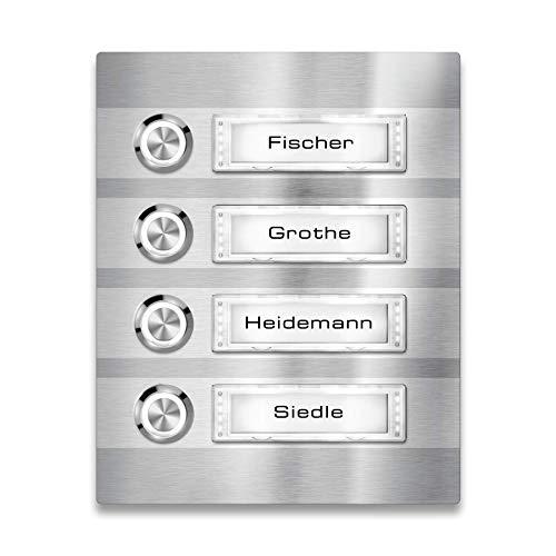 Metzler Türklingel - 4-fach Klingelplatte aus Edelstahl - Namensschild austauschbar - mit LED-Taster und Beleuchtung (optional) - (Namensschild mit Beleuchtung, LED-Taster Weiß)