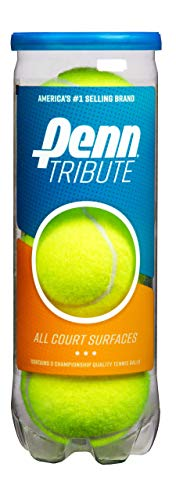Penn Tribute Tennis Balls - All Courts Felt Pressurized Tennis Ball, 1 Can, 3 Balls