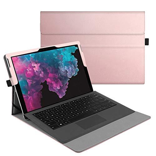 Fintie Hülle für Microsoft Surface Pro 7/ Pro 6/ Pro 5/ Pro 4/ Pro 3 12,3 Zoll Tablet - Multi-Sichtwinkel Hochwertige Tasche Schutzhülle aus Kunstleder, Type Cover kompatibel, Roségold