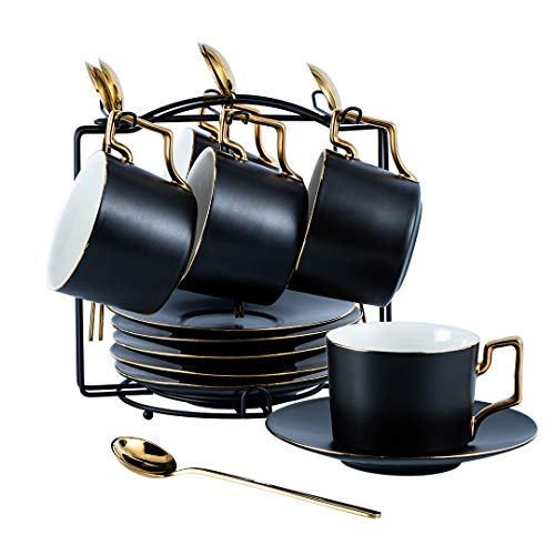 YOLIFE Kaffeetassen und Untertassen, Teetasse und Untertasse mit Ständer, 200 ml, Mattschwarz, 6 Stück