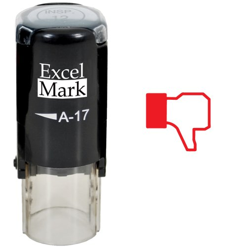 Thumbs Down - ExcelMark Self-Inking Round Teacher Stamp - Red Ink
