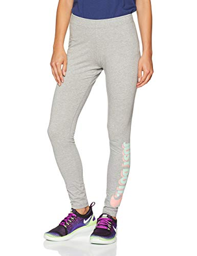 Nike Damen Sportswear Just Do It Club Leggings, Dark Grey Heather/Bleached Coral, XS