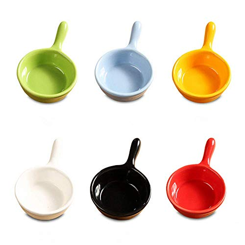 6 Pcs Ceramic Sauce Dishes Colorful Mini Bowl Set Ketchup Side Dish Tableware Condiment Relish Plate Seasoning Soy Sauce Dishes Stackable Ramekins with Grip Handle (6pcs Sauce Dishes)