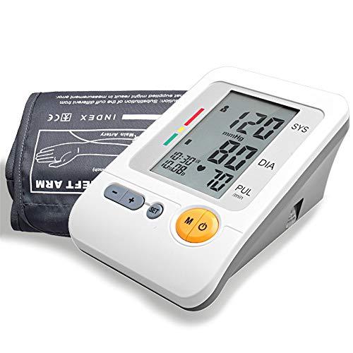 Guoyajf Monitor De Presión Arterial del Brazo Superior - Incluye: Monitor Completamente Automático, Brazalete Fit-All, Estuche Portátil - Pantalla LCD, Detector De Latidos Irregulares, Memoria