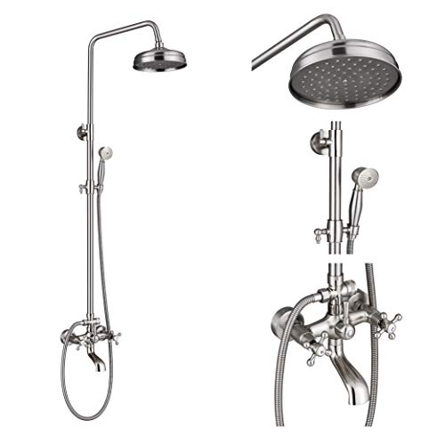 Rozin Bathroom 8-inch Top Rainfall Shower Faucet Tub Tap with Handheld Spray Brushed Nickel
