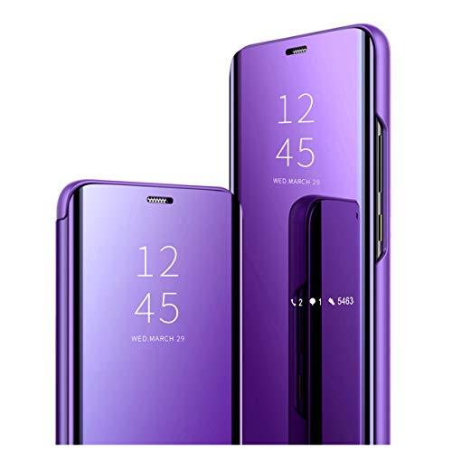 Clear View Standing Cover para el Samsung Galaxy S8 Plus Funda, Galaxy S8 Plus Espejo Protector PU-Leder Flip Handy Case con Standfunktion Handyhülle para Galaxy S8 Plus 2