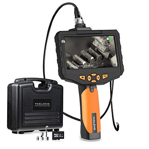 Teslong Inspektionskamera 4,5-Zoll-Farb-IPS-Monitor Mit 1080P HD-Auflösung Aufnehmen Industrie IP67 wasserdichte Hand Endoskop Kamera Kabel Schlangenkabelkamera 5,5mm Durchmesser,32GB TF Karte(1 M)