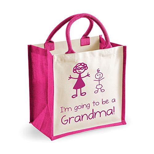 Medium Sac de jute I'm Going To Be A mamie Rose Bag fête des mères Nouvelle Maman anniversaire Cadeau de Noël
