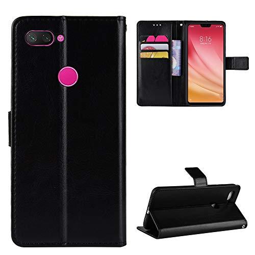 LODROC [Xiaomi Mi 8 Lite] Hülle, TPU Lederhülle Magnetische Schutzhülle [Kartenfach] [Standfunktion], Stoßfeste Tasche Kompatibel für Xiaomi Mi8 Lite - LOBYU0301282 Schwarz