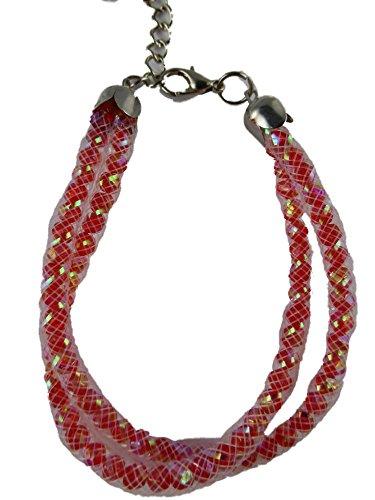 Ausgefallene Armband aus Nylon Netzschlauch / Netz / Schlauch mit Kristallen gefüllt rot / weiß 10