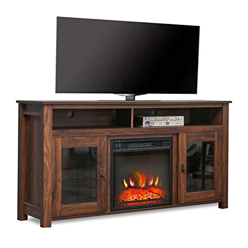 "PatioFestival Electric Fireplace TV Stand Entertainment Center Wooden Corner Electric Fireplace Console Fireplace Heater for TVs up to 60"",Rustic"