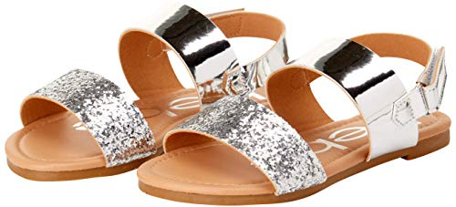 bebe Girls Metallic Sandals with Chunky Glitter Strap