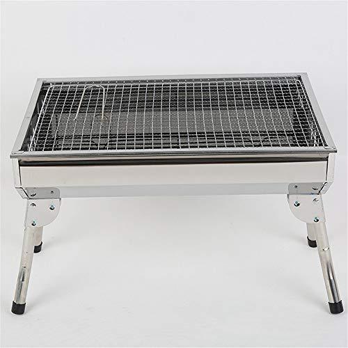 LJYMM - Barbacoa de carbón de madera para barbacoa de acero inoxidable portátil para camping, exterior