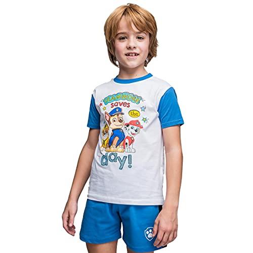 Paw Patrol T-Shirt e Pantaloncini per Bambino, Pigiama Set da 2 Pezzi per Bambini, Cotone, Completo Estivo, Regalo per Ragazzi, Taglie 5 Anni