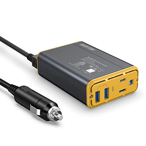 BESTEK 150W Power Inverter DC 12V to 110V AC Converter 4.2A Dual USB Car Adapter (Yellow)…