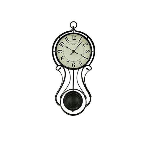 MingXinJia Relojes de Cabecera para el Hogar Reloj de Pared, Reloj de Pared Hueco de Metal Silencioso Vintage Relojes de Dormitorio de Sala de Estar